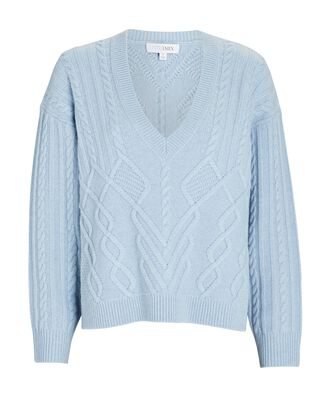 Adley Cashmere-Wool Cable Knit Sweater, LIGHT BLUE, hi-res