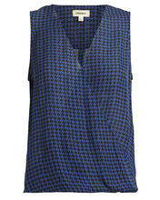 Mila Draped Houndstooth Blouse, NAVY/HOUNDSTOOTH, hi-res
