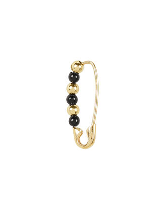 Friendship Safety Pin Earring, BLACK/GOLD, hi-res
