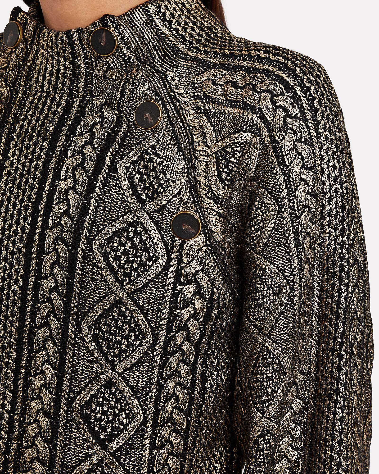 Grady Metallic Cable Sweater, GOLD, hi-res