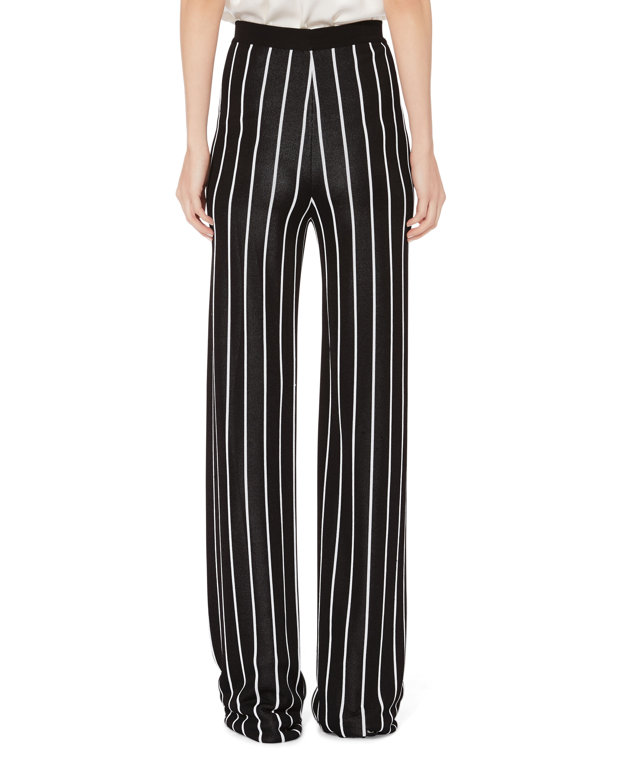 High Waist Striped Pants, BLK/WHT, hi-res
