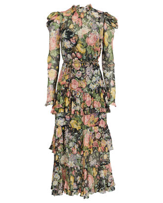 Ladybeetle Ruffled Floral Midi Dress, , hi-res