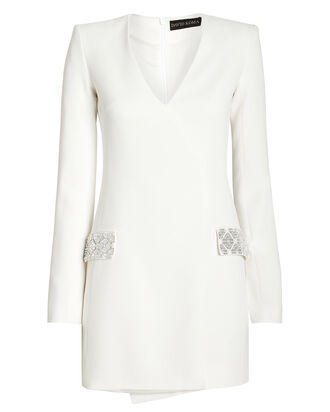 Embellished Tailored Mini Dress, WHITE, hi-res