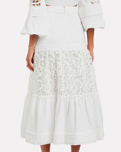 Gwenda Embroidered Lace Skirt, WHITE, hi-res