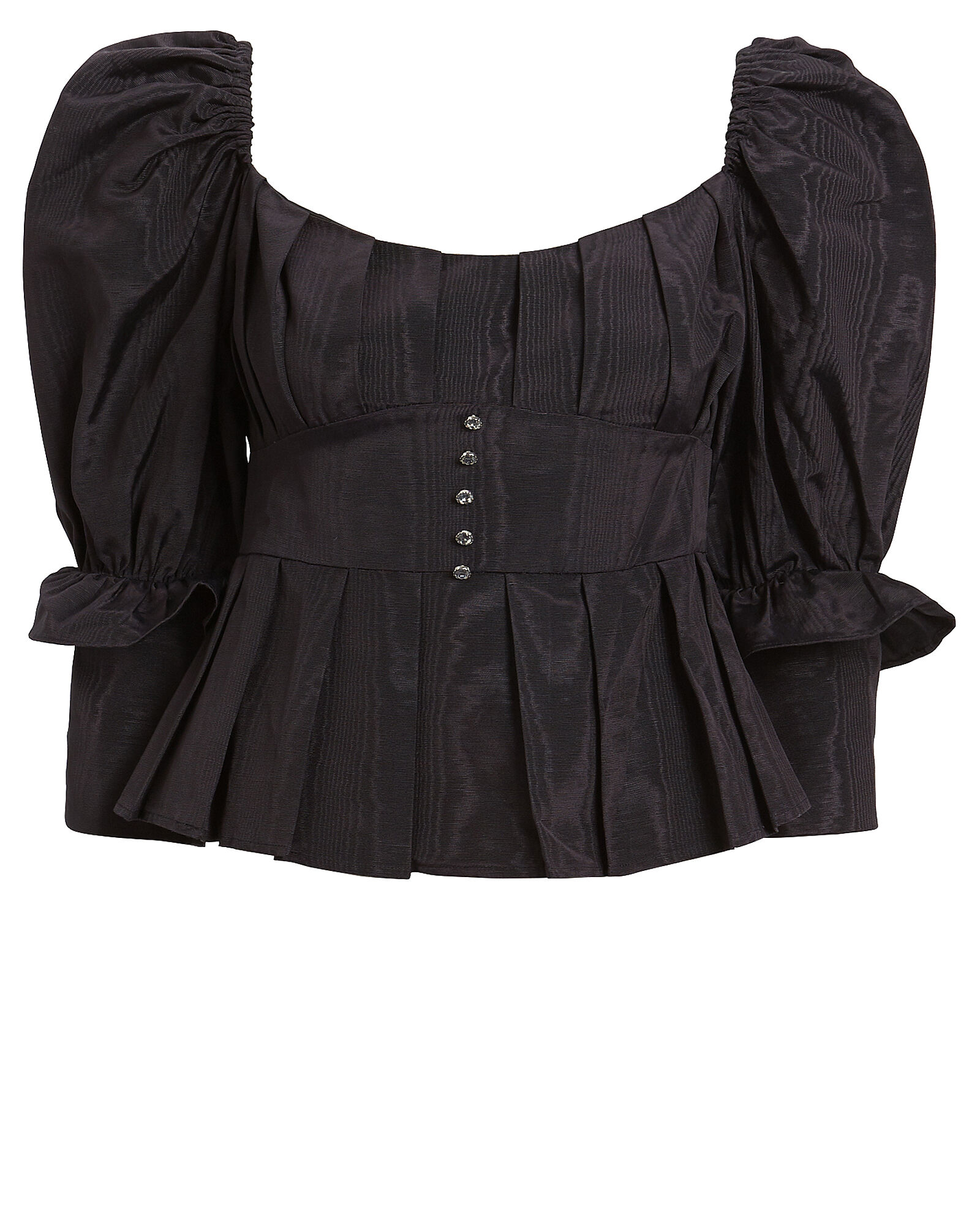 Bijoux Moiré Puff Shoulder Top, BLACK, hi-res