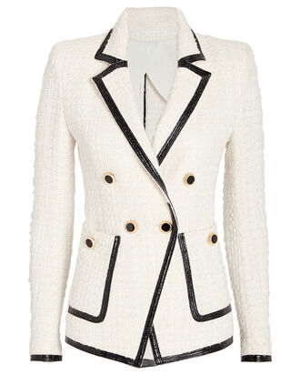 Cato Double-Breasted Tweed Blazer, IVORY/BLACK, hi-res