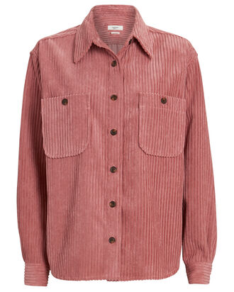Dexo Corduroy Button-Down Shirt, PINK, hi-res