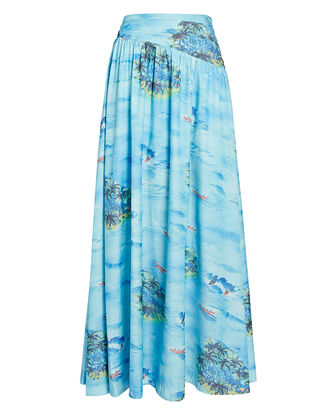 Kona Printed Maxi Skirt, BLUE-MED, hi-res