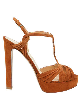 Brown Suede High Platform Sandals, BROWN, hi-res