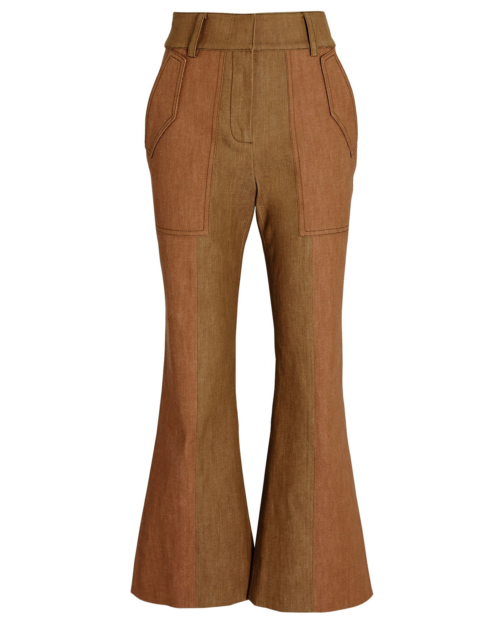 Nellie Flared High-Rise Pants, BEIGE/BROWN, hi-res