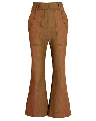 Nellie Flared High-Rise Pants, BROWN, hi-res