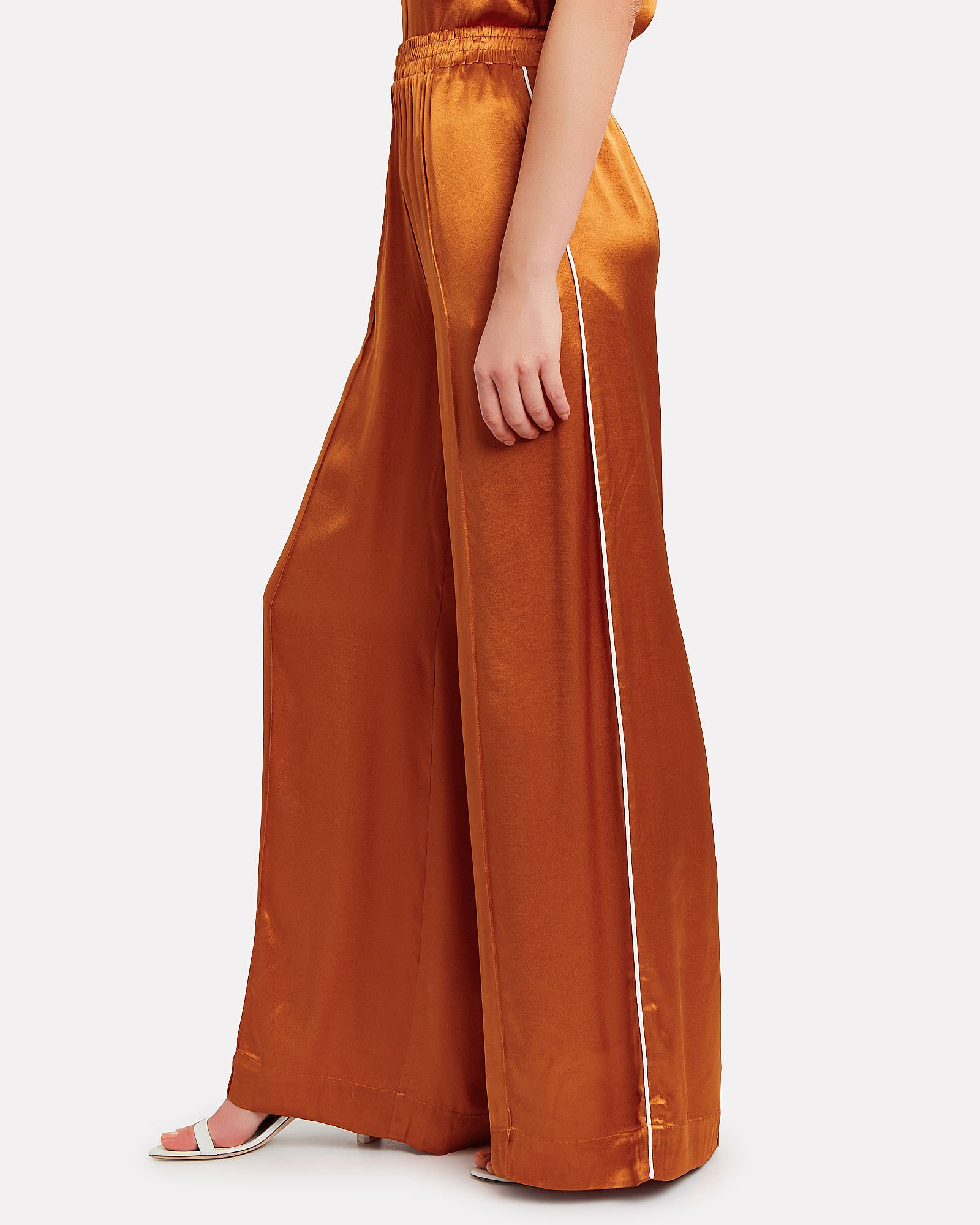 Tilja Satin Wide Leg Trousers, ORANGE, hi-res