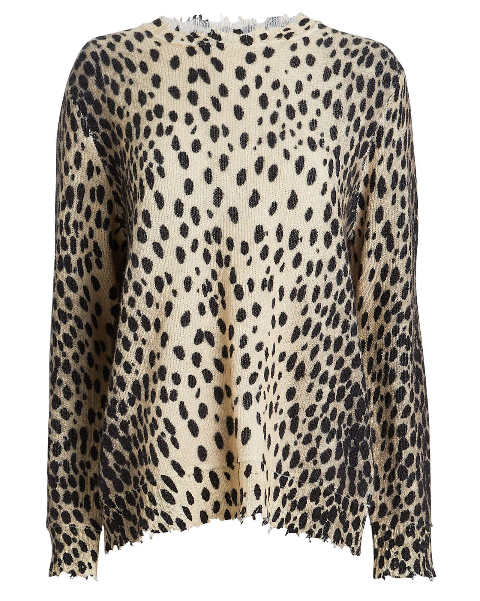 Cheetah Cashmere Crewneck Sweater, BEIGE/CHEETAH, hi-res