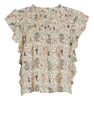 Layona Flutter Sleeve Cotton Top, IVORY, hi-res