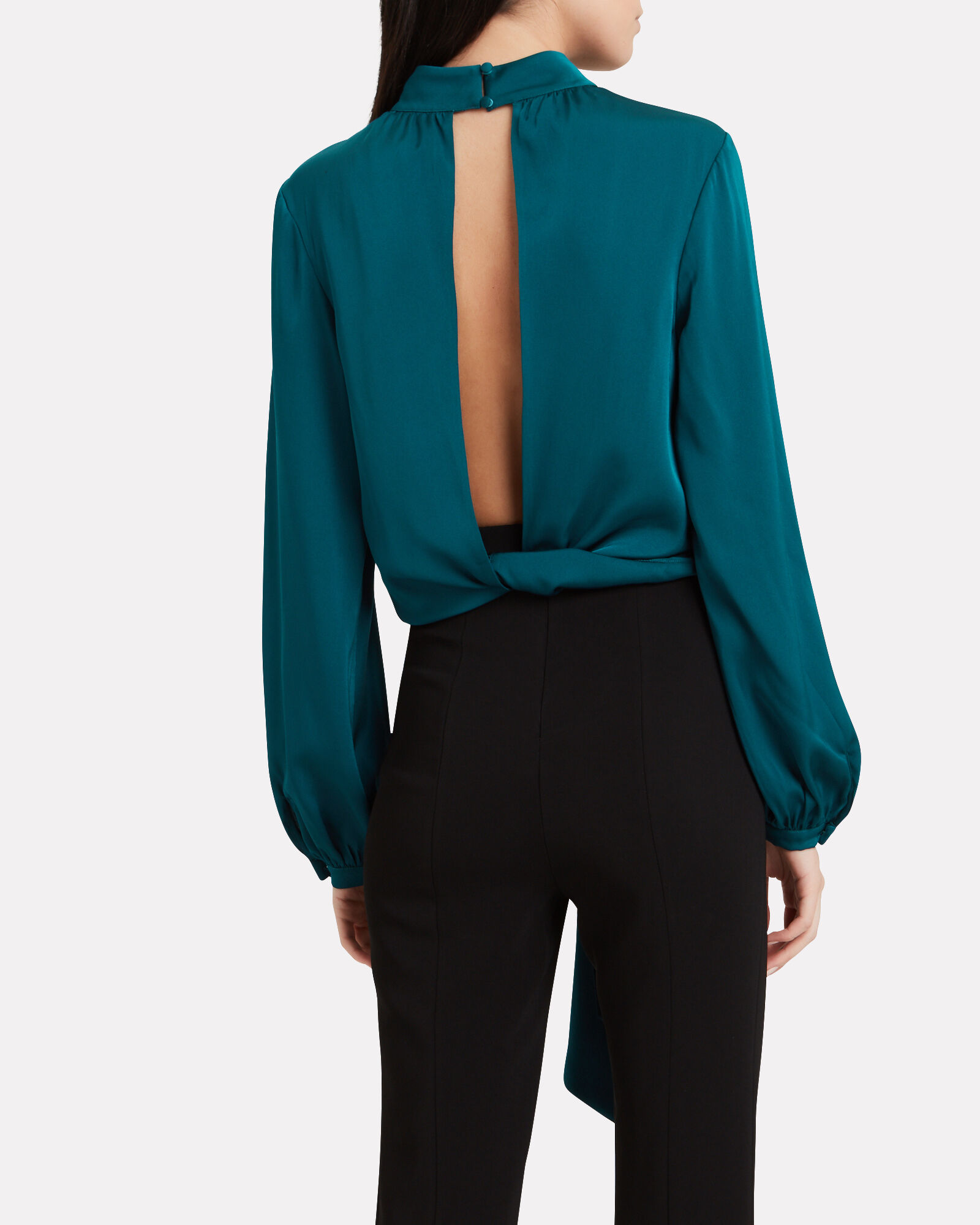 Viviana Silk High Neck Top, BLUE-MED, hi-res