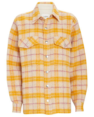 Faxonli Flannel Shirt Jacket, YELLOW, hi-res