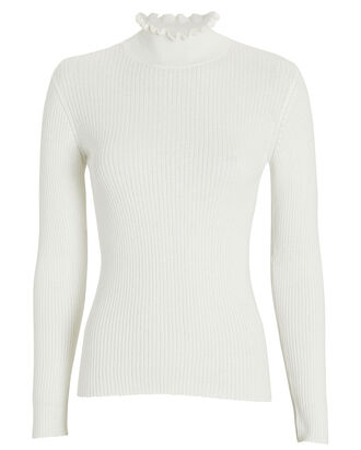 Ruffled Cotton-Cashmere Mock Neck Sweater, CHALK, hi-res