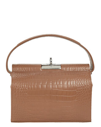 Milky Croc-Embossed Shoulder Bag, BROWN, hi-res