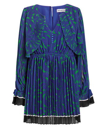 Crescent Printed Cape Blue Mini Dress, BLUE/GREEN, hi-res