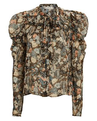 Colette Lurex Silk Floral Blouse, BROWN/BEIGE, hi-res