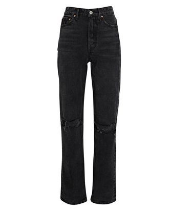 Mica Distressed High-Rise Jeans, BLACK, hi-res