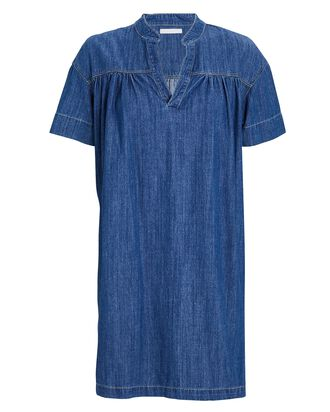 The Gatherer Denim Popover Dress, SIMPLE THINGS, hi-res