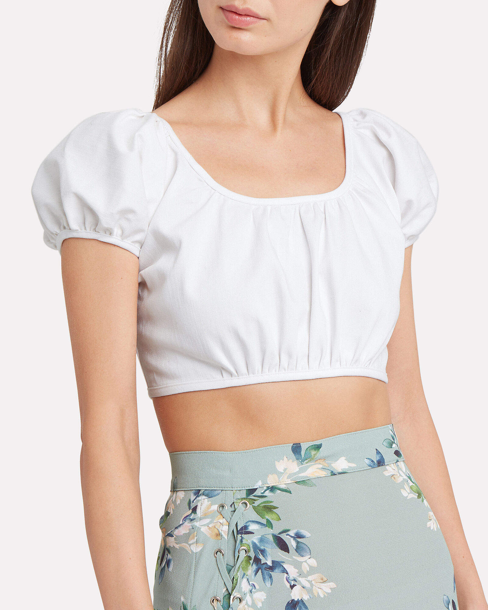 Georgette Cropped Top, WHITE, hi-res