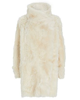 Reversible Shearling Coat, IVORY, hi-res