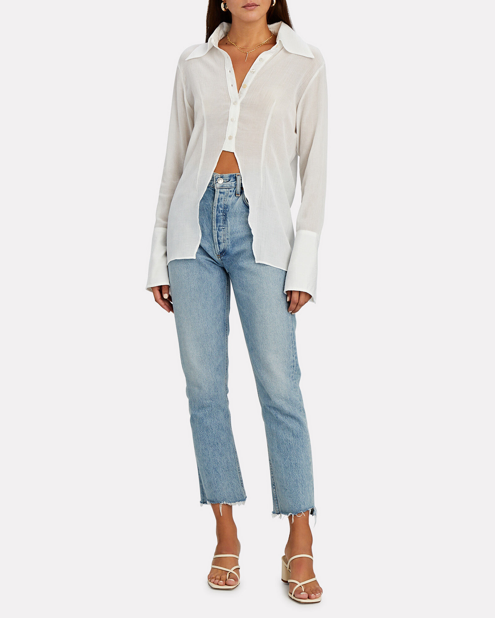 Leomie High-Low Button-Down Shirt, WHITE, hi-res