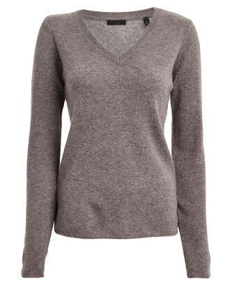Cashmere V-Neck Sweater, ASHEN BROWN, hi-res