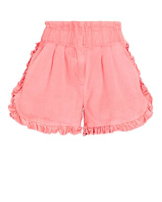 Neon Ruffled Denim Shorts, PINK, hi-res