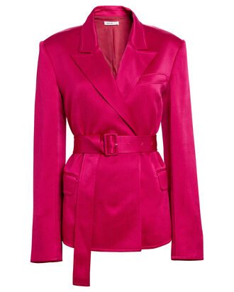 Satin Tailored Belted Blazer, FUCHSIA, hi-res