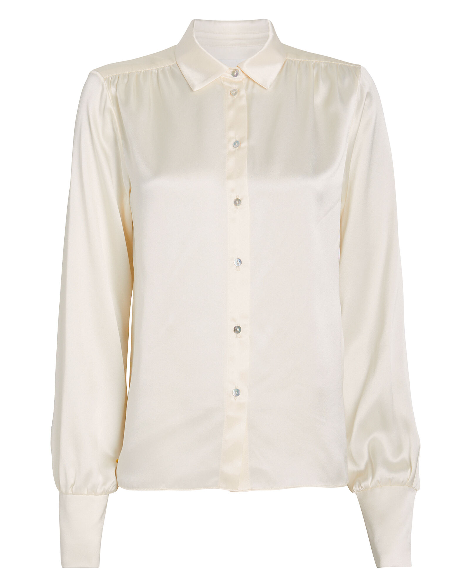 Neveah Silk Button Down Blouse, WINTER WHITE, hi-res