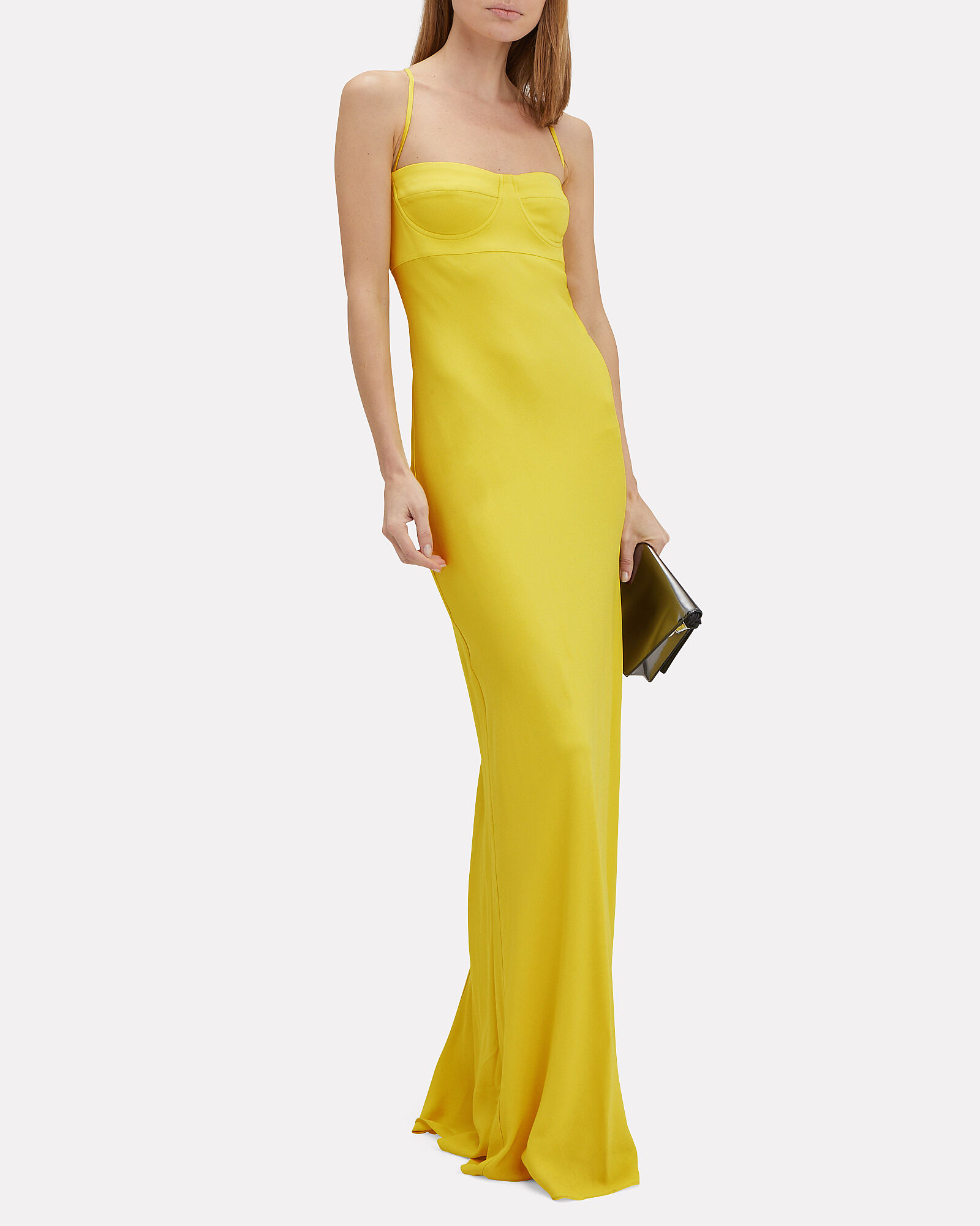 Crepe Suiting Bustier Gown, YELLOW, hi-res
