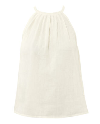 Tie Back Linen Top, IVORY, hi-res