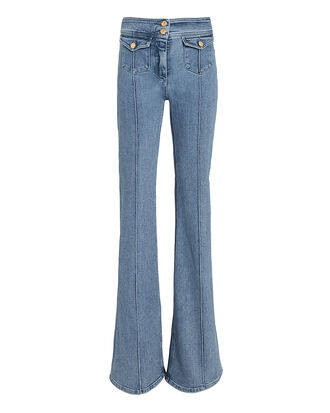 Seam Detail Flare Jeans, DENIM, hi-res
