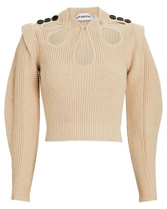 Cotton-Wool Cut-Out Sweater, BEIGE, hi-res