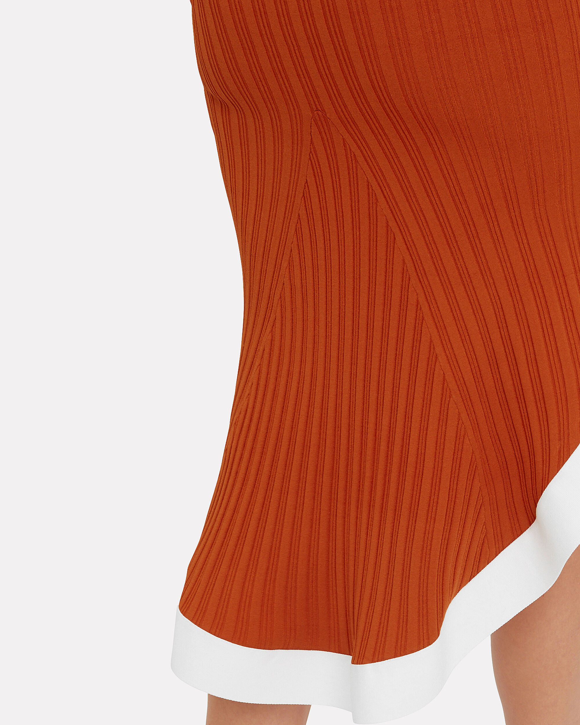 Rust Ribbed Knit Contrast Trim Dress, RUST/WHITE, hi-res