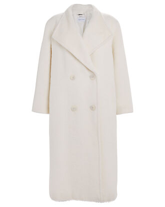 Oversized Double Breasted Alpaca-Wool Coat, WHITE, hi-res