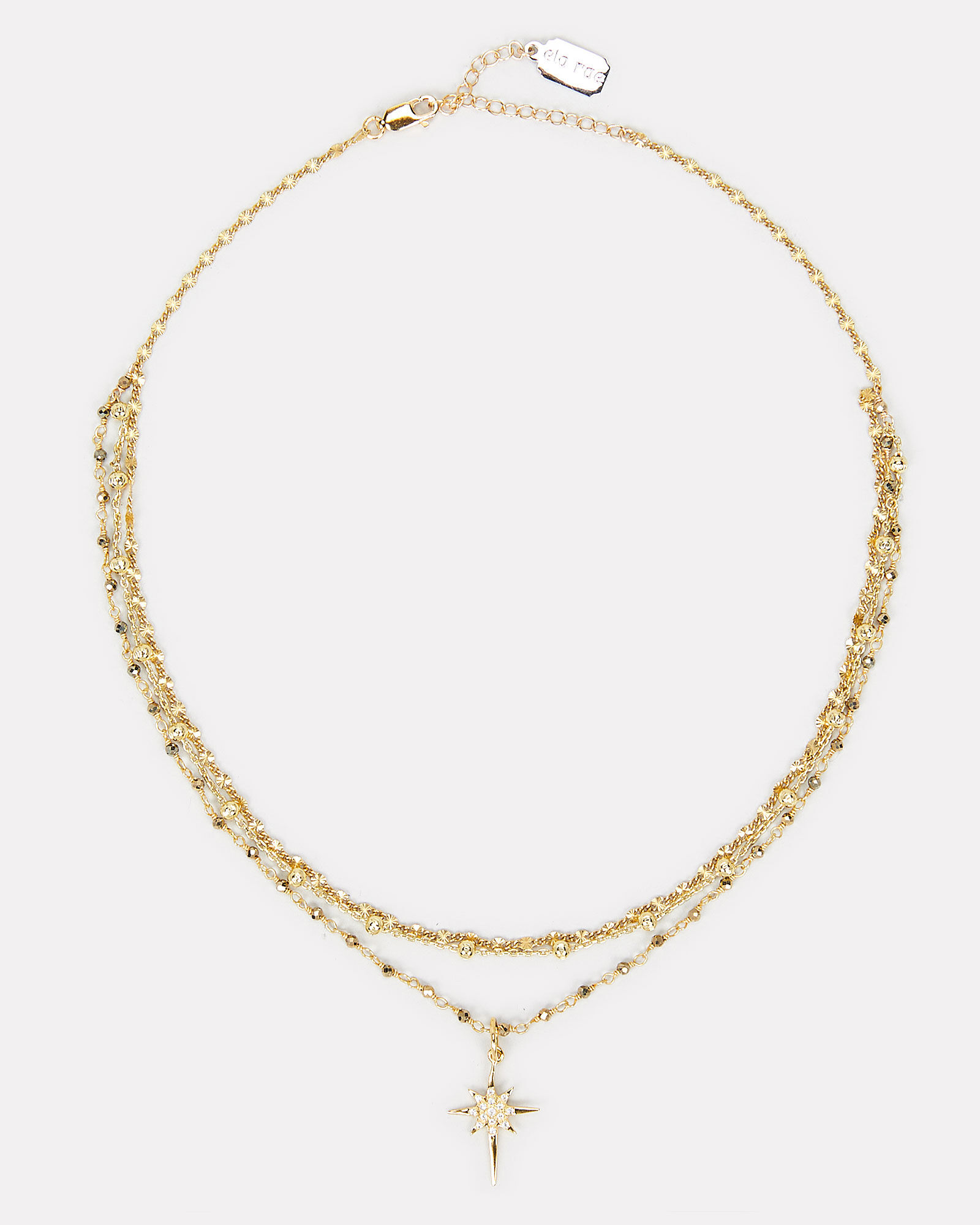 Layered Chain Starburst Necklace, GOLD, hi-res