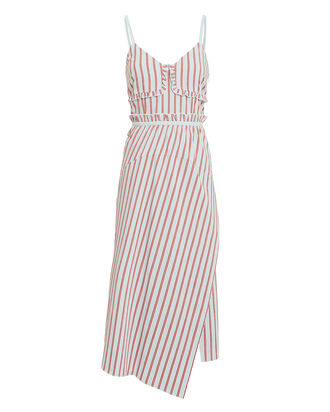 Striped Ruffle Cami Dress, RED, hi-res
