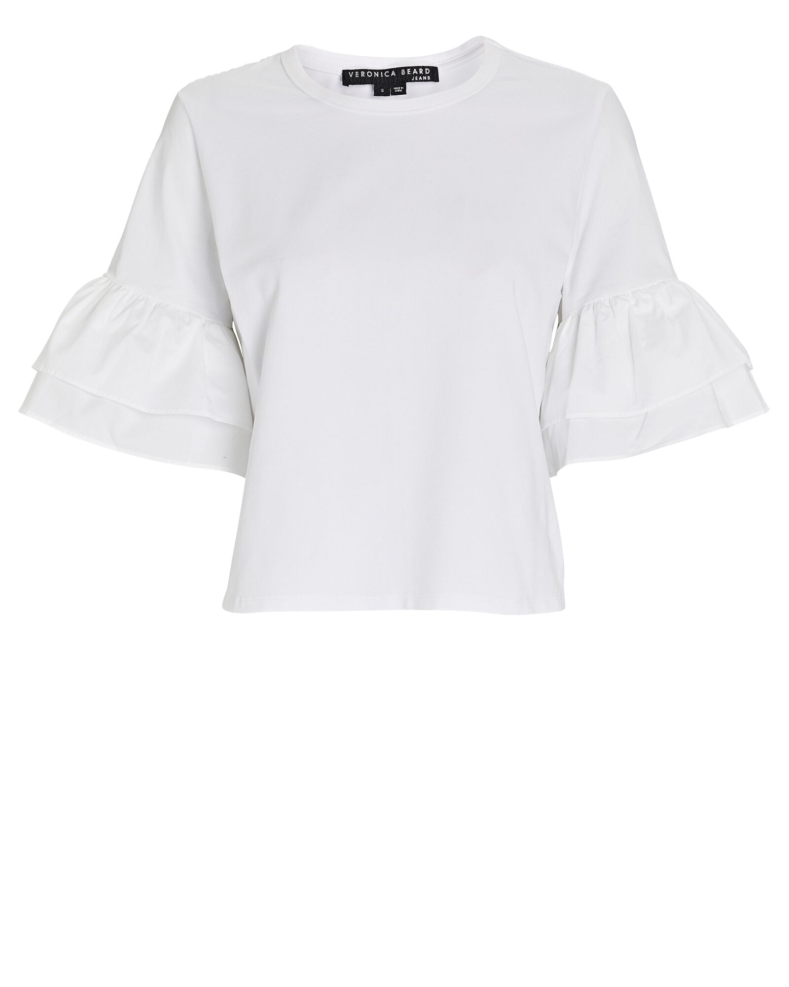 Rickie Flared Crewneck T-Shirt, WHITE, hi-res