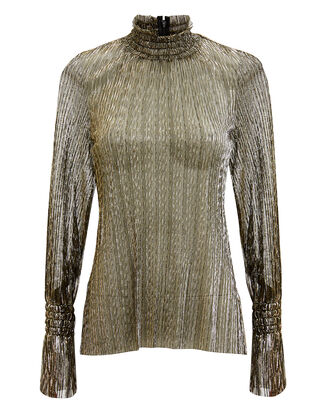 Paolo Gold Metallic Turtleneck Blouse, GOLD/BLACK, hi-res