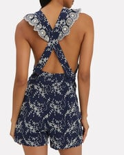Olive Embroidered Romper, NAVY, hi-res