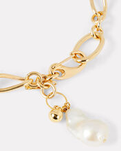 Waxing Chain-Link Pearl Necklace, GOLD, hi-res
