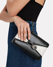 Colorblock Leather Envelope Clutch, BLACK/WHITE, hi-res