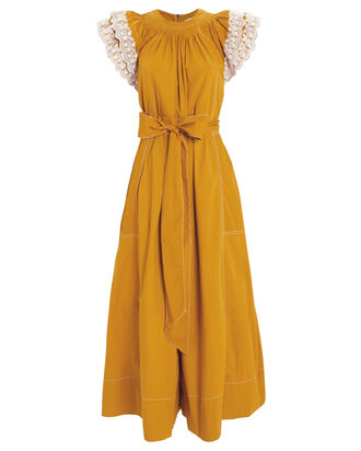 Landon Embroidered Poplin Jumpsuit, MUSTARD, hi-res
