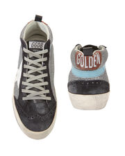 Mid Star Silver Glitter Suede Sneakers, NAVY, hi-res