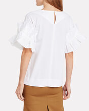 Ruffle Sleeve Cotton T-Shirt, WHITE, hi-res