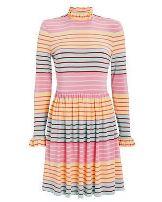Baby Long Sleeve Jersey Dress, PINK/BLUE STRIPE, hi-res